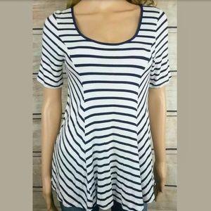 NAIF Striped Fit & Flare Peplum Stretch Knit Top M
